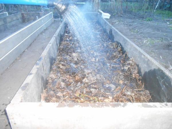 Фото 26. Ветки и листья в коробе поливаются водой