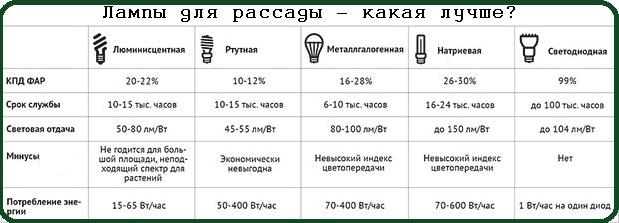 Выбор ламп для рассады