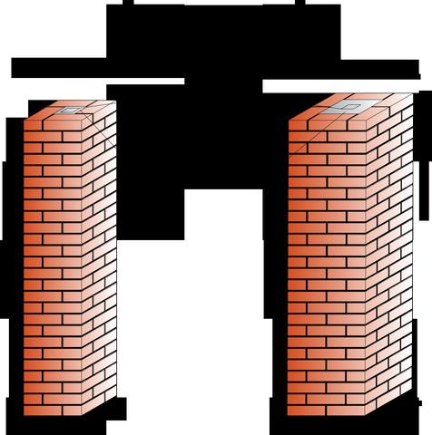 Процесс кладки столбов из кирпича