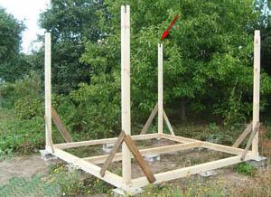 Строительство беседки из дерева. Нижняя обвязка и стойки