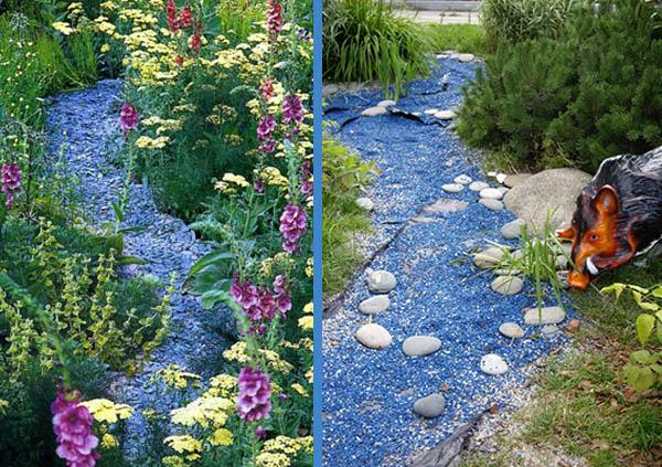 Сухой ручей с использованием цветных камней