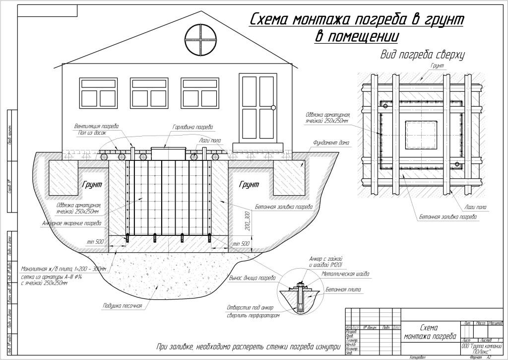 Схема монтажа погреба под домом