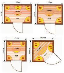 Схема расположения инфракрасных обогревателей в сауне