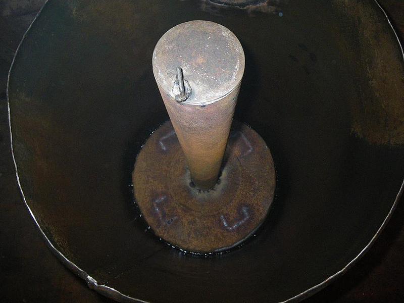 Установка прижимного круга в печь