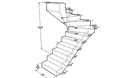 Чертеж сложной бетонной лестницы, ведущей в погреб