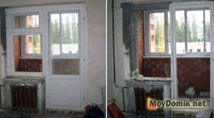Старый стандартный деревянный балконный блок - демонтаж оконного блока