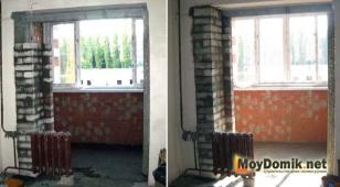 Кладка кирпича по краю балконного проема, чтобы увеличить ширину стены под радиатор отопления