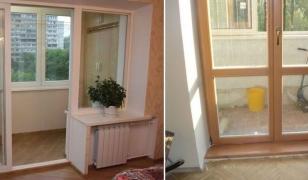 Французские окна-двери с сохранением подоконной тумбы балконного блока