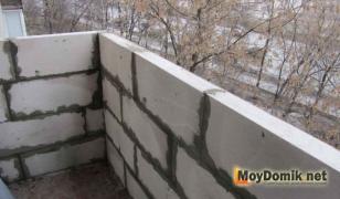 Балконный парапет из пеноблока
