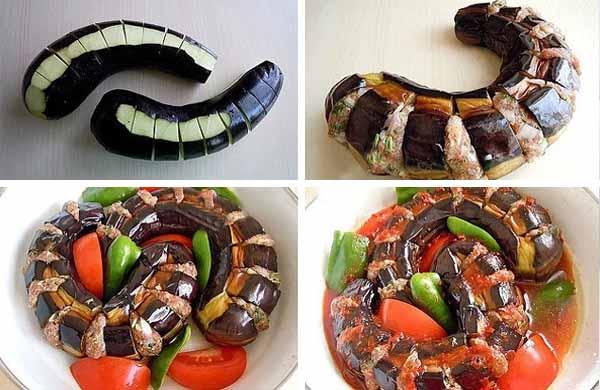 бакажаны фаршированные мясом