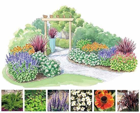 как сделать красивый цветник в саду