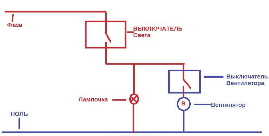 Схема автономного подключения вытяжного вентилятора
