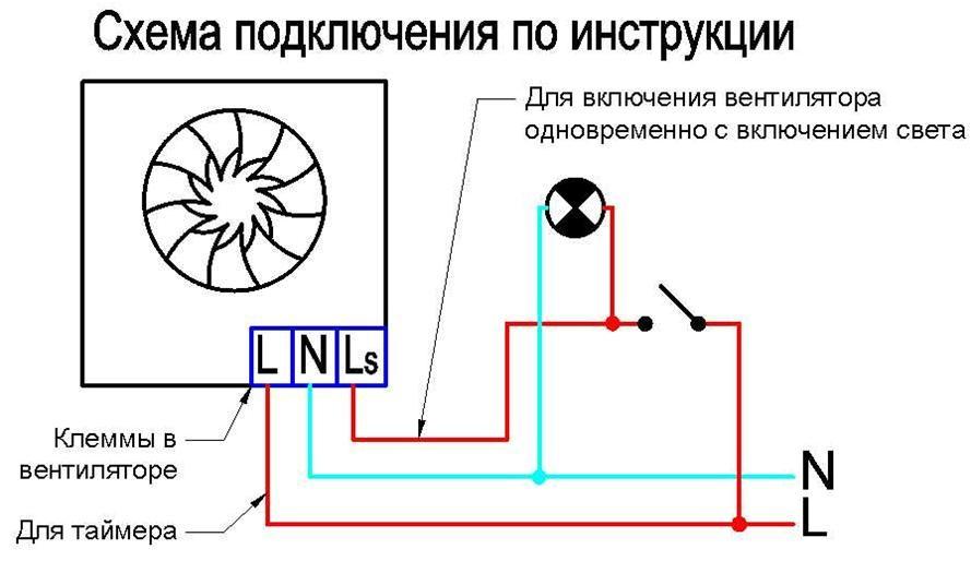 Схема, при которой свет и вентиляция включаются одновременно