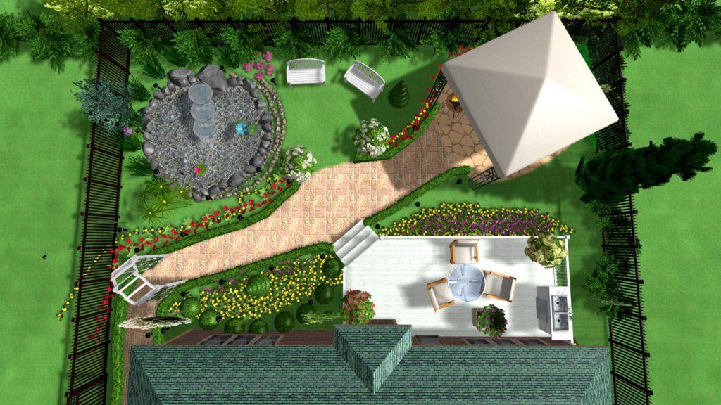 Диагональная планировка поможет зрительно увеличить небольшого размера участок