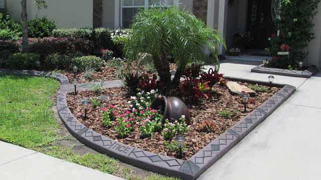 красивый бетонный садовый бордюр