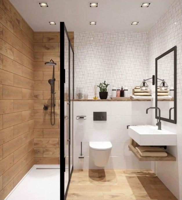 Современный дизайн интерьера ванной с душевой