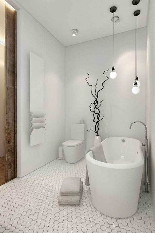 Дизайн белой ванной с туалетом