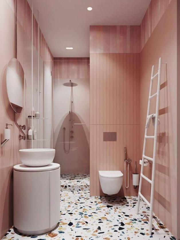 Пудровый интерьер ванной
