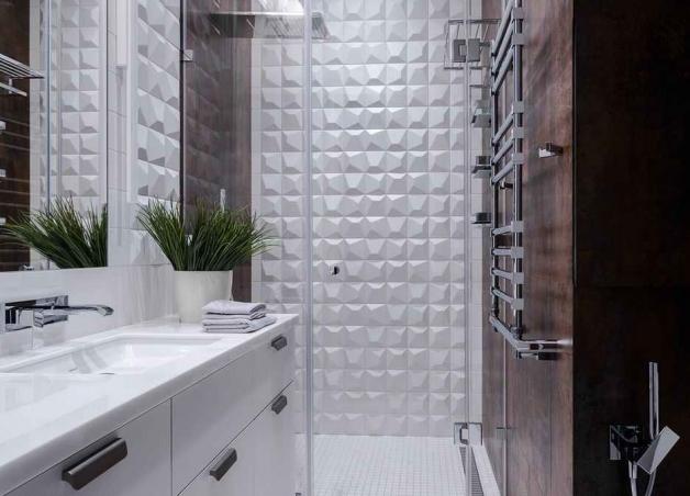 Душ в пол в интерьере ванной