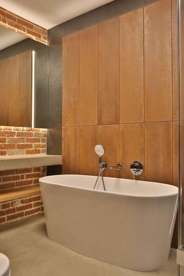 Терракотовый оттенок в интерьере ванной