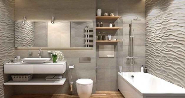 Дизайн ванной в бело-серых тонах