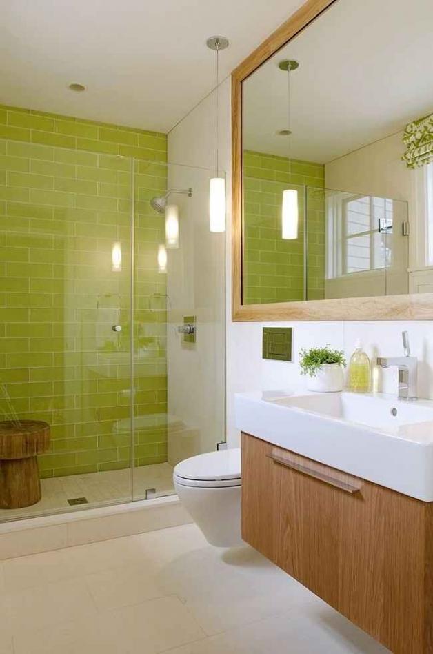 Лаймовый цвет в интерьере ванной