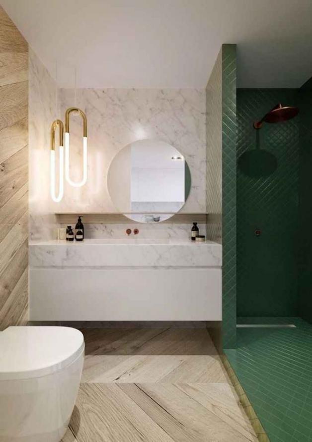 Стильная ванная с зелеными оттенками