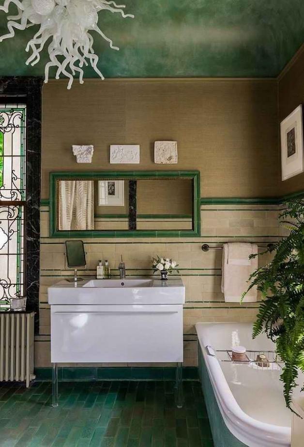 Зеленые оттенки в интерьере ванной