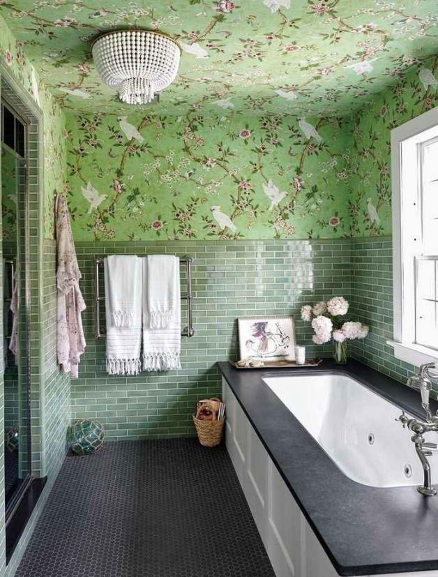 Оформление ванной с зелеными оттенками