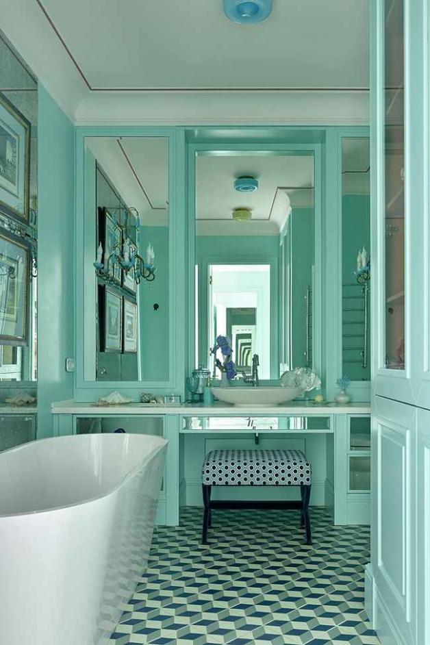 Цвет тиффани в ванной комнате