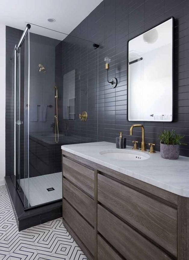Черный цвет в дизайне ванной