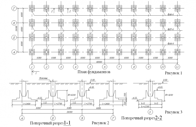 Схема расположения столбов для фундамента на чертеже