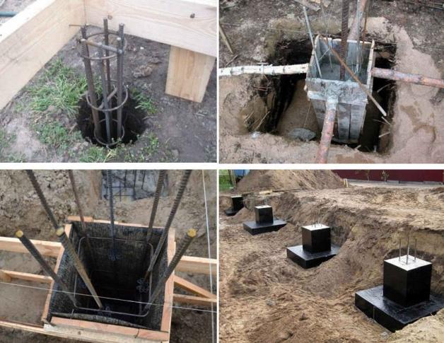 Установка столбов для фундамента дома